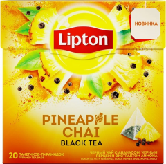Липтон PINEAPPLE CHAI С АНАНАС Чёрн. ПЕРЦЕМ ЭКСТР ЛИМОН 20ПИРХ1.8Г  Lipton